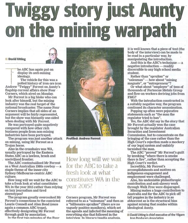 Twiggy Story Just Aunty on the Mining Warpath